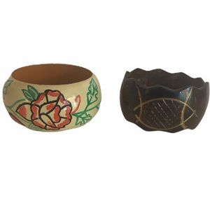 Vintage Painted Wood Bangle Bracelets
